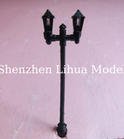 model lamp---plastic yard lamp,scale lamp double head, architectural model lamp model materials