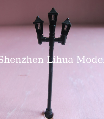 model lamp---plastic yard lamp ,scale lamp three head architectural model lamp, model materials