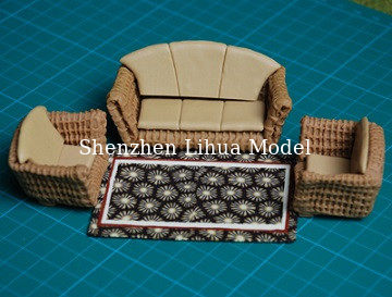 China ceramic craft sofa---model scale sofa, architectural model materials,model furniture,1/25 factory
