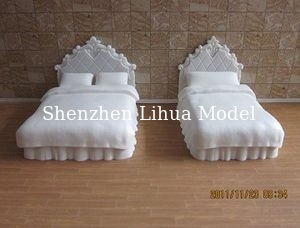 China sigle/double bed--model scale bed ,plastic model beds,doll house decoration factory