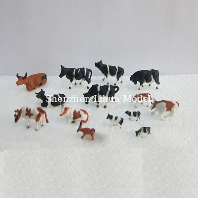 China 1:150 color cattle,model animal,painted cattle,ABS model cows,HO figure,HO animals,color cows,HO animals distributor