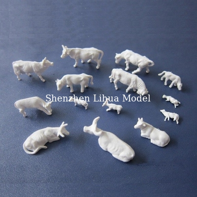 China 1:150 unpainted cattle-white cow,unpainted cows,white cattle,small cows,miniature cow distributor