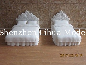 sigle/double bed--model scale bed ,plastic model beds,doll house decoration